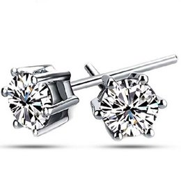 Wholesale Mens Silver Studs - NEW AAA Austria Crystal Stud Earrings For Women Six Claw White Gold Plated 30% 925 Sterling Silver Mens Stud Earrings Freeshipping