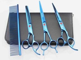 Wholesale Wholesale Steel Home Kits - 7'' Hairdressing Scissors 62HRC JP 440C Stainless Steel Pet Hair Cutting Thinning Shears 4Pcs Set With Bag Plated Blue