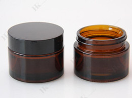 Wholesale Glass Amber Jars - 5g 10g 20g 30g brown amber glass cream jar with black lid cosmetic jar packing for sample eye cream bottle