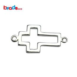 Wholesale Cross Pendant Connector - Wholesale-Beadsnice fine 925 cross pendant connector hollow cross connectors fit bracelelts bangles jewelry connectors findings ID33501