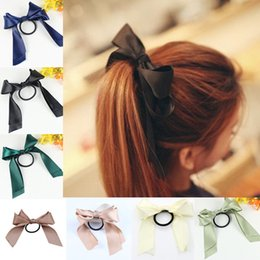 Wholesale Satin Green Hair Bow - Women Tiara Satin Ribbon Bow Hair Band Rope Scrunchie Ponytail Holder For Hair Accessories Hairstyle Girl Headbands