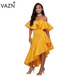 Wholesale Yellow Strapless Top - VAZN 2018 New Design Top Bandage Dress Sexy Strapless Maxi Club Dress Short Sleeve Long Dress K9118 q1118