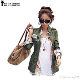 Wholesale Sleeve Drawstring Coat Jacket - Jacket women 2016 Autumn jacket military army green jackets embroidery Epaulet drawstring adjustable chaqueta mujer coat C55301