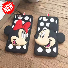 Wholesale Doll Silicone Case - 3D Cute Cartoon Soft Silicone gel Phone Case Mickey Minnie Doll couples detachable Dot for Iphone 6S 6 plus 4.7 5.5 I6S 5 5G 5S skin luxury