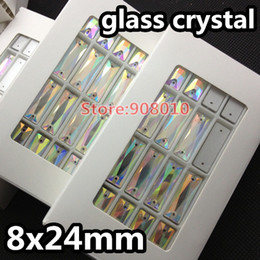 Wholesale Crystal Rhinestone Baguettes - Wholesale-96pcs box 8x24mm Cosmic Baguette Sew On Crystal Rhinestone Crystal AB Color Rectangle Flatback Sewing glass 2holes For Dress