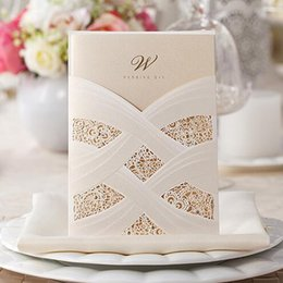 Wholesale Lilac Favors - Wedding Invitations Customize Flowers Hollow Wedding Cards Pearl Paper Laser Cut Invitation Card Wedding Favors Free Shipping In Stock ZYY
