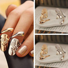 Wholesale Nails Designs White - New fashion Ring Exquisite Plum Snake Gold Silver Cute Retro Queen Dragonfly Design Rhinestone Ring Finger Nail Rings