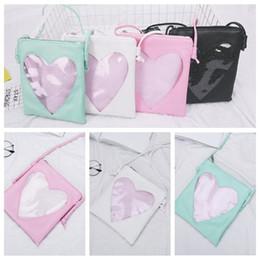 Wholesale kawaii love - 4 Colors Cute Transparent Love Heart Shape Ita Bag PU Leather Messenger Bag Kids Kawaii Crossbody Handbag Girls Shoulder Bag CCA8416 100pcs