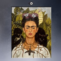 Wholesale Giclee Poster - Frida Kahlo Original Self-Portrait with Thorn Necklace and Hummingbird, c.1940 GICLEE poster print on canvas