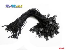 Wholesale Black Nylon String Cord - 1000pcs 18cm Hang Tag Seal String with Loop Nylon Cord and Bullet Head Snap Lock Black