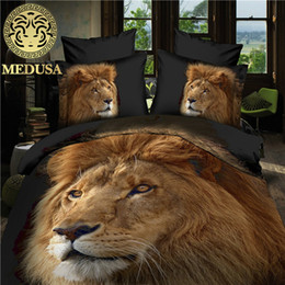 Wholesale Lion King Comforter - Medusa 3d lion tiger bedding set duvet doona cover bed sheet pillow cases 4pcs bed linen set,queen size