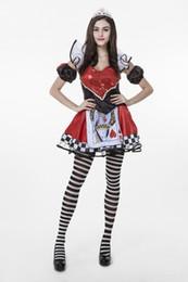 2017 nova rainha de pôquer mulheres set com listra meia coração vermelho lantejoula sexy cosplay trajes de halloween clube desempenho roupas transporte da gota de Fornecedores de rainha de lantejoulas