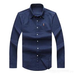 vestido plissado Desconto Polo 2017 atacado outono e inverno dos homens de manga comprida camisa de vestido dos homens puros casuais camisa polo oxford camisa social marca clothing