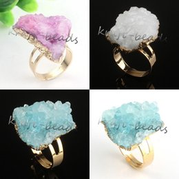 Wholesale Cluster Solitaire Rings - Wholesale 10Pcs Charm Gold Plated Natural Colorful Rock Quartz Crystals Clusters Stone Random Shape Adjustable Finger Ring Jewelry