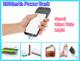 Wholesale Small Charger Light - Light Small Promotion powerbank 2600mah Power Bank Credit Card for mobile phone 2600 mah Ultra thin external battery emergency charger