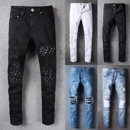 Wholesale Famous Cotton Tops - 2018 new arrival fashion design men ripped amiri jeans famous brand biker jeans men top quality big size straight fit