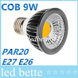 Wholesale 9w Blue Led Spotlight Bulbs - High Quality COB 9W PAR20 Led E27 E26 GU10 Bulbs Light 120 Angle Warm Natural Cool White AC 110-240V Dimmable Led Spotlights + CE UL CSA