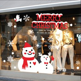 Wholesale Happy Stickers - Christmas Decorations Christmas Stickers Xmas Supplies Snowman Wall Sticker Decorative PVC Stickers Happy Merry Xmas 50*70Cm
