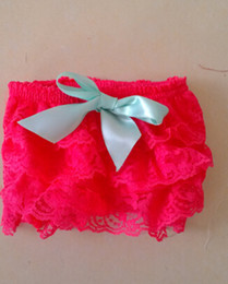 Wholesale Strawberry Girl Cover - Wholesale-Custom Baby Lace Diaper Cover Summer Baby Girls Lace Bloomer Strawberry bloomer with Aqua Ribbon