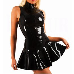Wholesale Ladies Summer Outfits - Hot Sexy Black Zipper Faux Leather PVC Women Club Dress Bodycon Party Dresses Ladies Vestidos Outfits Clubwear Costume XXL