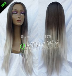 Wholesale Two Tone Hair Color Styles - Hot sale top quality LONG Synthetic Wig free ship, two tone color ombre grey white color Style soft hair female full Wig