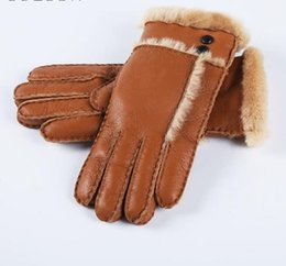 Wholesale Sheep Fur Gloves - Hot Sale Winter Women Gloves Wool Genuine Leather Sheepskin Gloves Solid Sheep Fur Mittens Elegant Warm Female Gloves