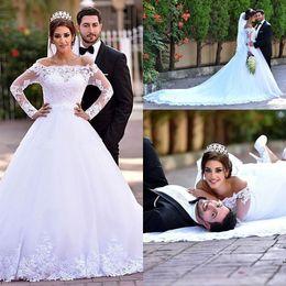 Wholesale Long Train Modern Wedding Dresses - Classical Long Sleeves Lace A Line Wedding Dresses 2016 Modern Bateau Sheer Appliques Court Train Arabic Bridal Gowns Plus Size Cheap BA1024