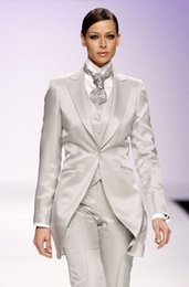 Wholesale Suit Jacket White For Woman - Fashion off white women Tuxedos peaked Lapel suits for women one button women suits wool blend three piece Suit (Jacket+Pants+vest+tie) j823