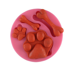 Wholesale Silicone Dog Molds - The dog footprint and bones cake molds chocolate mould for the kitchen baking clay mold Sugar craft Decoration Tool CT122