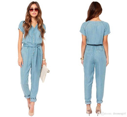 Wholesale Sexy Cowboys Clothing - 2016 New Summer Fashion Sexy Style Jumpsuit Women Long Sashes Short Sleeve Casual Party Street Solid Women's Clothes Cowboy OXL081709