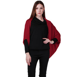 Wholesale Ladies Sweater Shawls - Wholesale- Newest Women Winter Outerwear Poncho Sweater Shawl Cape Sleeved Lady Bat Coat Fashion Blends Knitted Cardigan JH852008