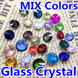 Wholesale Rivoli 12mm - MIXED COLOR Rivoli Crystal 8MM 10MM 12MM 14mm 16mm 18mm Round Fancy Stone Crystal Rivoli Beads