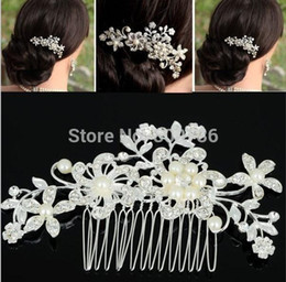 Wholesale Wedding Womens Clothing - Fashion Girls Womens Crystal Elegant Silver Wedding Bridal Hair Comb Pearl Hair Pin Clip Clothing Accessories Jewelry Free