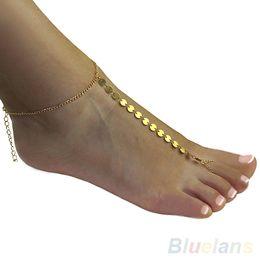 2019 tornozelo escravo sexy Sexy Banhado A Ouro tornozelo pulseira Toe Slave Pé pé Cadeia de Jóias Sandália Praia tornozeleiras para as mulheres 03HH desconto tornozelo escravo sexy