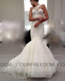 Wholesale Modern Mark - Modern 2016 Mark Zunino Wedding Dresses Elegant One Shoulder Sweetheart Pleated Ivory Mermaid Court Train 2015 Winter Tulle Bridal Gowns