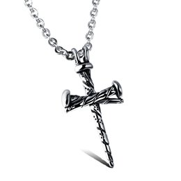 Wholesale Titanium Stainless Steel Cross Pendant - Wholesale Fashion Nail Cross Personality Pendant Popular Titanium Steel Women Men Necklace Jewelry Classical Design Birthday Gift