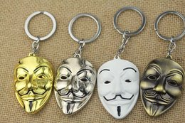 Wholesale Theme Ring - V for Vendetta Movie theme Mysterious wack mask Keychain Ring Pendants Hangings 12 Pcs lot Free Shipping