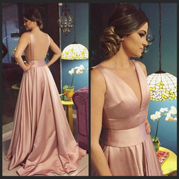 Wholesale girls night gowns - Blush Pink Satin Long Prom Dresses Formal Occasion Deep V-Neck Backless Evening Gown A-Line Girls Night Party Dress Graduation Vestidos Fest