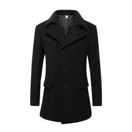 Wholesale Men Designer Long Wool Coat - New 2016 Mens Designer Clothing British Style Trench Coat Winter Autumn Wool Jacket Windbreaker Men Overcoat Casacos 2M0135