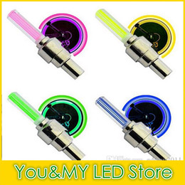 Wholesale Led Lights For Bike Spokes - Edison2011 Firefly Spoke LED Wheel Valve Stem Cap Tire Motion Neon Light Lamp for Bike Bicycle Car Motorcycle