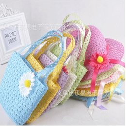 Wholesale Wholesale Crochet Bags - 2015 summer baby hats Children's hat straw Caps kids beach Hats photography props toddler sun hats with bags