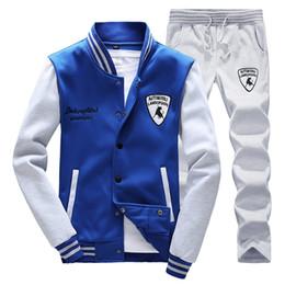 Wholesale Winter Tracksuit Men - Wholesale-Autumn winter tracksuit tenis baseball polo suit XS - 4XL men sweatshirt pants set Outdoor sport Hoodies joggers jogging 8594