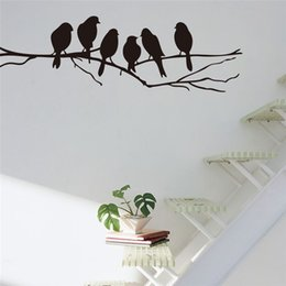 Wholesale Tree Branch Wall Decals Removable - bird tree branch vinyl wall stickers bedroom living decorations 8216. removable diy home decals animal mural art 4.0