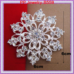 Wholesale Bright Wedding Flowers - 6CM Silver Heart Flower Brooch With Bright Clear Crystal For Women,Party,Gift Brooch Pins,Wedding Bridal Bouquet Brooch B559