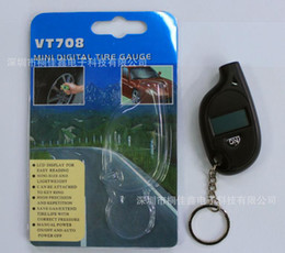 Wholesale Tire Gauge Tester - Wholesale-Portable Mini LCD Digital Tire Pressure Gauge Tester with Key Ring VT708 Black new