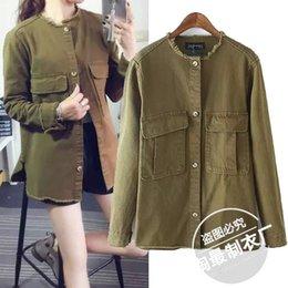 Wholesale Korean Long Frocks - Pick up. Pick up -20AZ8182 autumn and winter Korean army green frock coat round neck long-sleeved shirt casual jacket