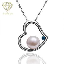 Wholesale Czech Diamond Heart Pendant - Open Heart Necklace Romantic Design Imitation Pearl & Czech Diamond in Heart Shape Platinum Plated Pendant Necklace for Valentine Gifts