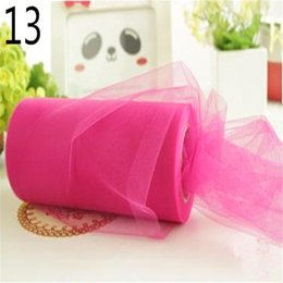 Wholesale Table Runner Organza Red - Wholesale-22mX15cm Roll Crystal Tulle Rose Red Wedding Table Runner Decoration Organza Sheer Gauze Element Free Shipping G067-13