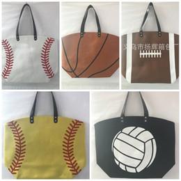 Wholesale Factory Direct Clothing - Square Canvas Bag Baseball Tote Softball Basketball Football Volleyball Pattern Handbag Leisure Shopping Bags Factory Direct Sales 17yh B