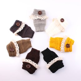 Wholesale Fingerless Wrist Warmers - 2016 Lady Knitted Fingerless gloves adult woman autumn Winter Wrist solid color Hand Gloves with buttons lace Warmer knitted gloves 7colors
